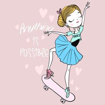 Ilustração de linda garota desenhada de mão