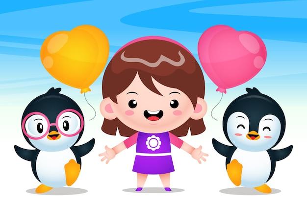 Ilustração de linda garota e pinguins