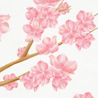 Ilustração de lindas flores de cerejeira em aquarela