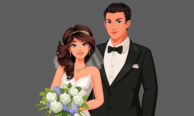 Ilustração de lindo casal de noivos.