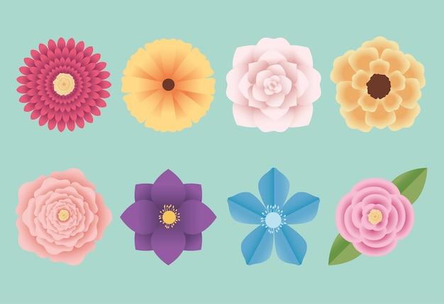 Ilustração de lindo conjunto de flores