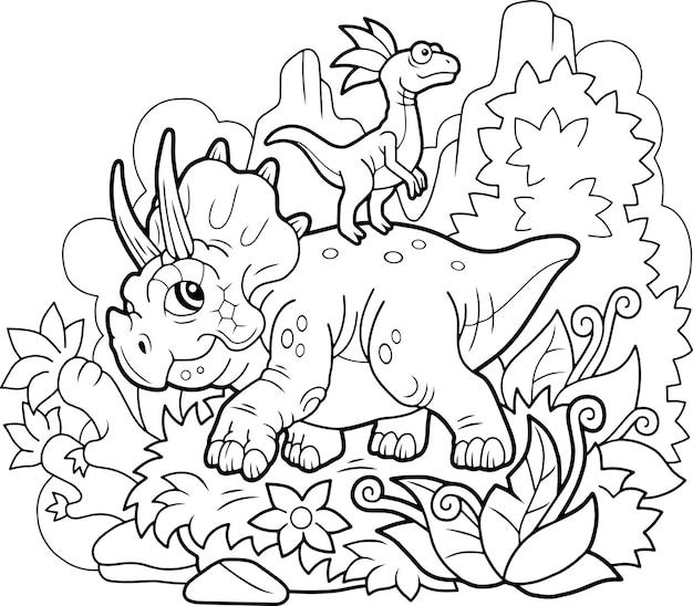 Ilustração de lindo desenho animado bonito triceratops