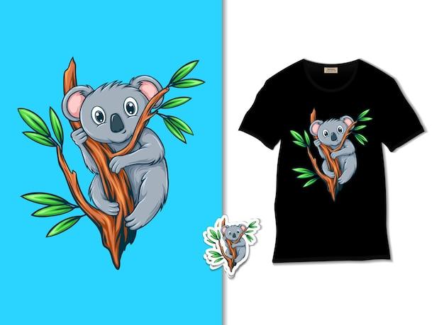 Ilustração de lindo e fofo coala na árvore
