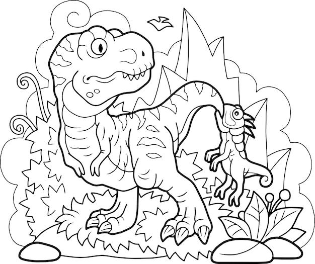 Ilustração de lindos dinossauros engraçados fofos
