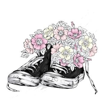 Ilustração de lindos tênis e flores