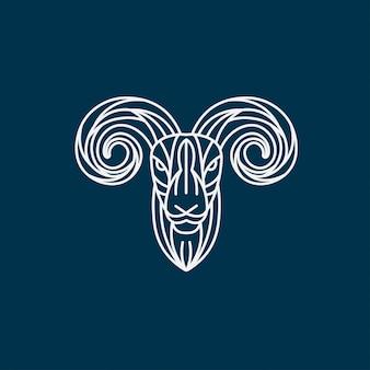 Ilustração de lineart de cabra, logotipo de cabeça de cordeiro