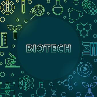 Ilustração de linha colorida de biotecnologia em fundo escuro