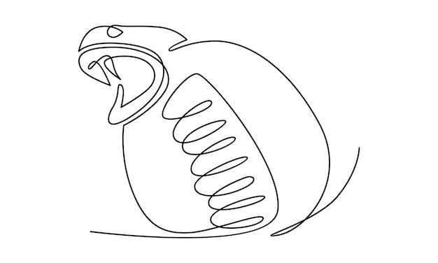 Ilustração de linha contínua de cabeça de cobra