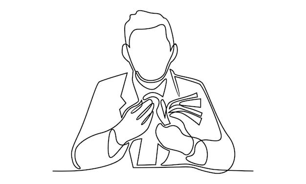 Ilustração de linha contínua de empresário contando dinheiro