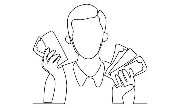 Ilustração de linha contínua de homem com notas de dinheiro