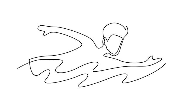 Ilustração de linha contínua de homem nadando