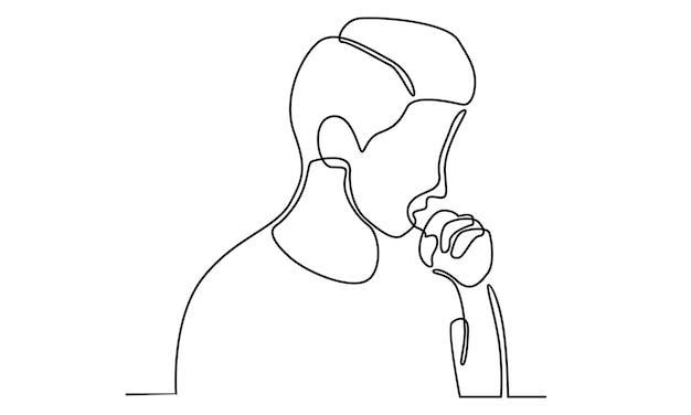 Ilustração de linha contínua de homem tossindo