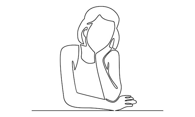 Ilustração de linha contínua de mulher dormindo