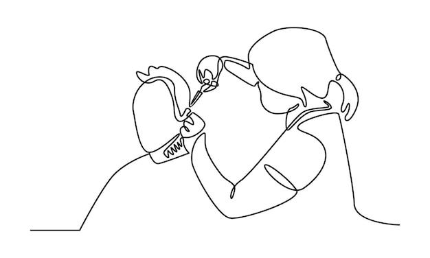 Ilustração de linha contínua de mulher em salão de cabeleireiro