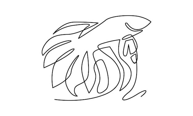 Ilustração de linha contínua de peixes betta