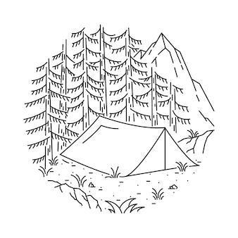 Ilustração de linha de acampamento caminhadas montanha
