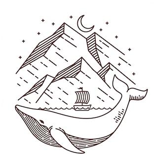 Ilustração de linha de aventura de baleia