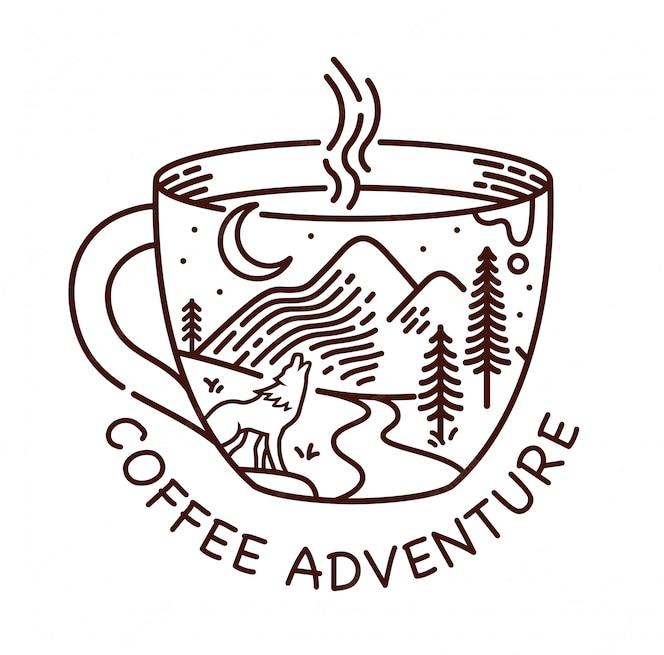 Ilustração de linha de aventura de café