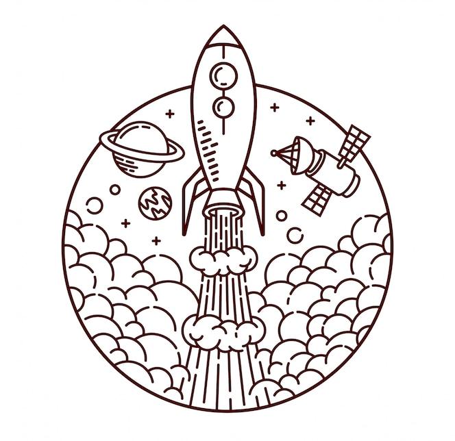 Ilustração de linha de aventura de foguete