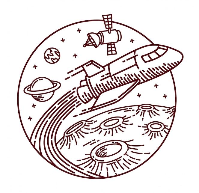 Ilustração de linha de aventura espacial
