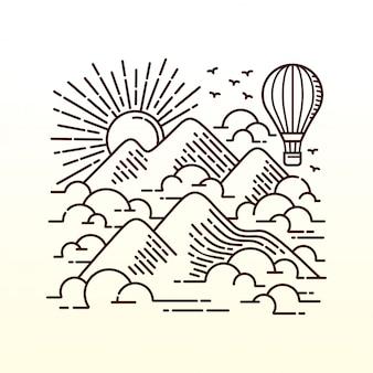 Ilustração de linha de aventura voadora