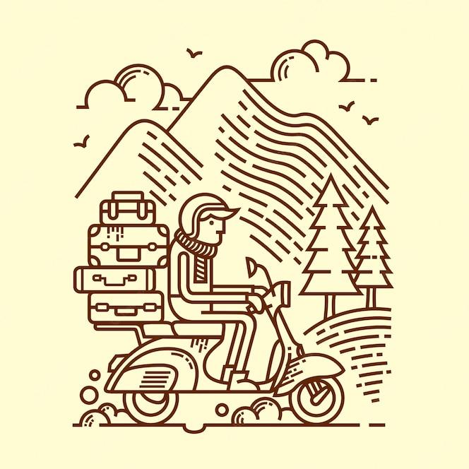 Ilustração de linha de aventura