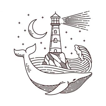 Ilustração de linha de baleia e farol