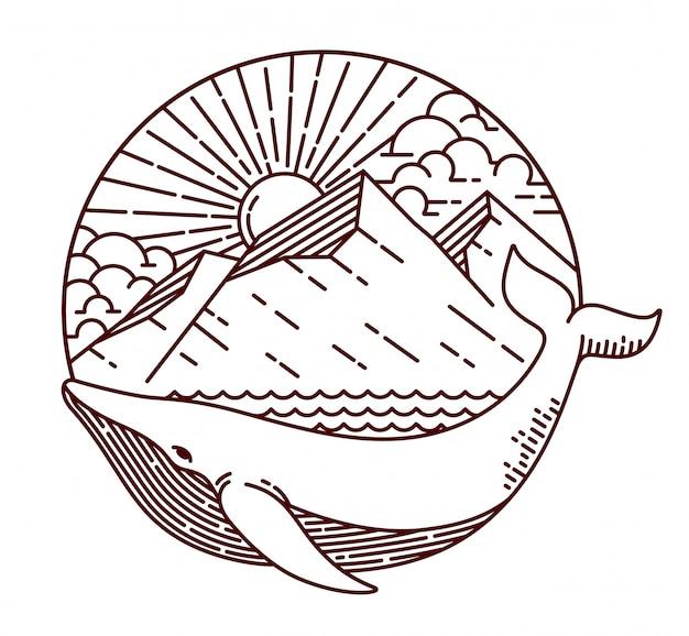 Ilustração de linha de baleia e montanha Vetor Premium