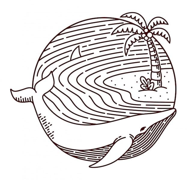 Ilustração de linha de baleia e praia Vetor Premium