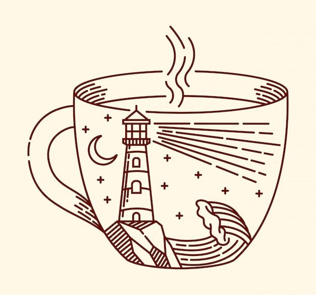 Ilustração de linha de café e farol Vetor Premium