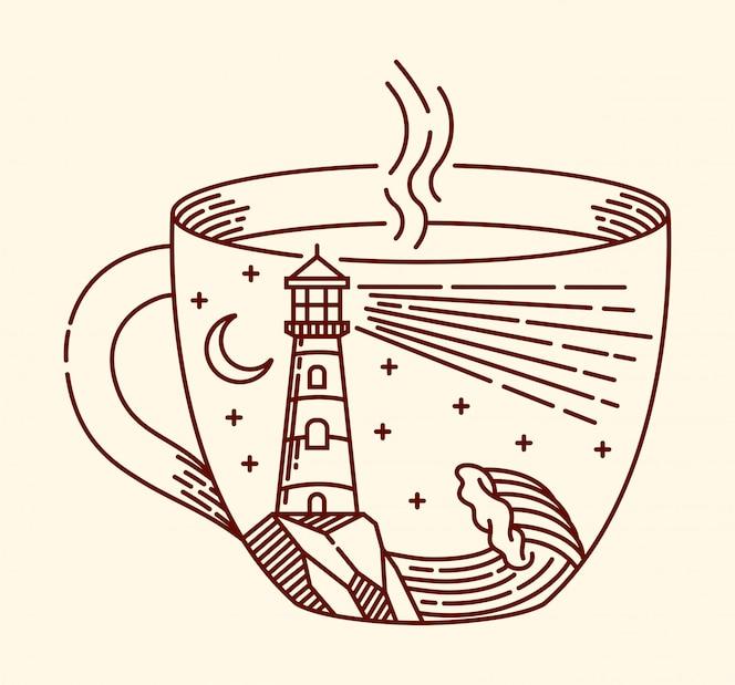Ilustração de linha de café e farol
