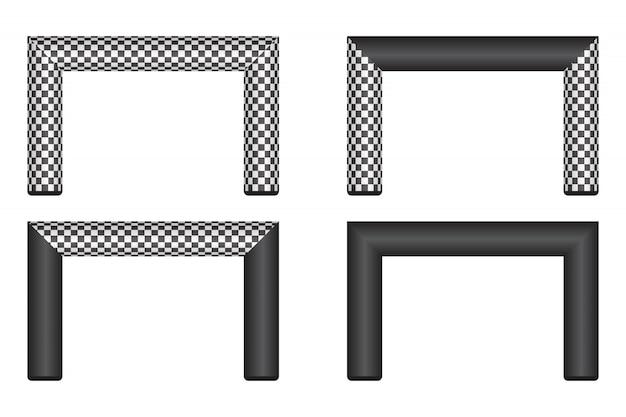 Ilustração de linha de chegada inflável isolada no branco