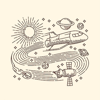 Ilustração de linha de espaço de aventura