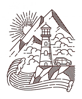 Ilustração de linha de exibição de farol