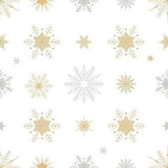 Ilustração de linha de flocos de neve de natal ano novo sem costura