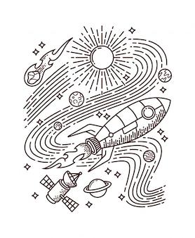 Ilustração de linha de foguete espacial