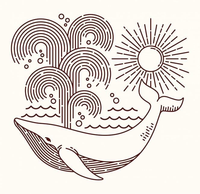 Ilustração de linha de grande baleia
