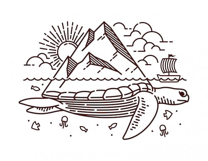 Ilustração de linha de ilha de tartaruga