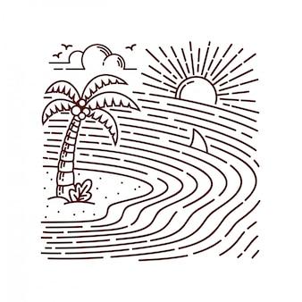 Ilustração de linha de ilha do mar