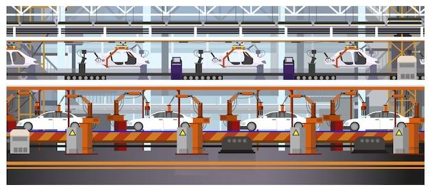 Ilustração de linha de montagem de carro