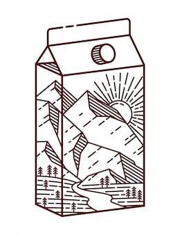 Ilustração de linha de montanha e leite