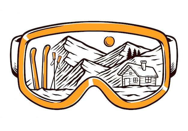 Ilustração de linha de óculos de esqui