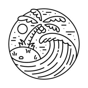 Ilustração de linha de onda de praia verão