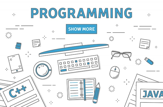 Ilustração de linha de programação.