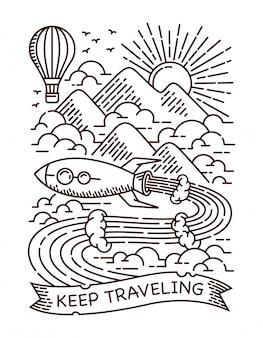Ilustração de linha de viagens de foguete