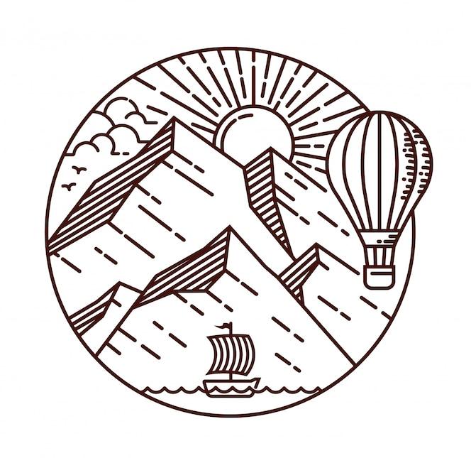 Ilustração de linha de viagens de montanha
