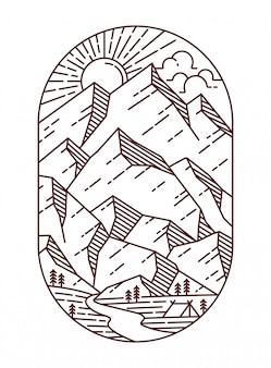 Ilustração de linha de vista para a montanha