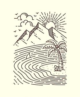Ilustração de linha do mar