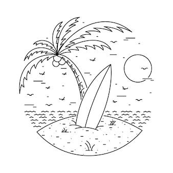 Ilustração de linha do verão praia ilha surf