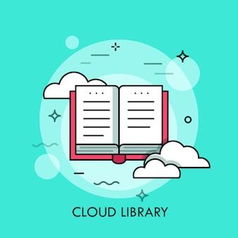 Ilustração de linha fina de estilo simples de biblioteca on-line